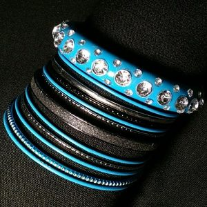 Jewelry - Set of 12 Bangles - Blue, Black, & Silver Mix